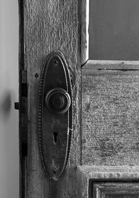 Photograph - Old Hotel Doorknob 2 Bw by Mary Bedy