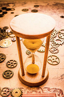 Tools Photograph - Old Hourglass Near Clock Gears On Old Map by Jorgo Photography - Wall Art Gallery