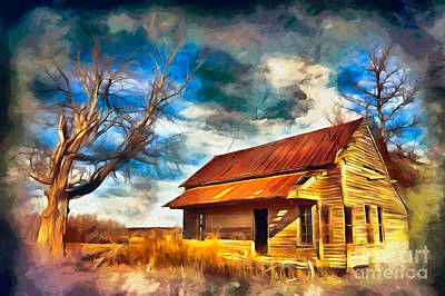 Painting - Old House And Dramatic Sky Ap by Dan Carmichael