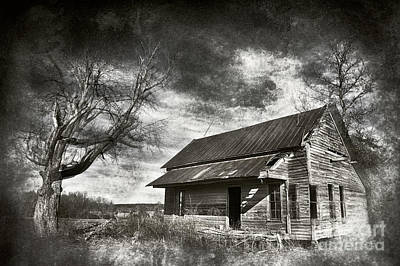 Photograph - Old House And Dramatic Sky Bw by Dan Carmichael