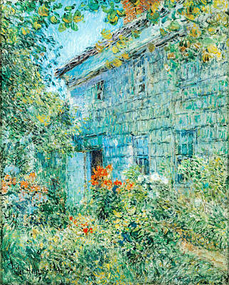 Blue And Red Painting - Old House And Garden East Hamptons by Childe Hassam