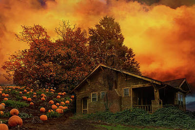 Farmland Photograph - Old House Pumpkin Patch In Oregon by David Gn