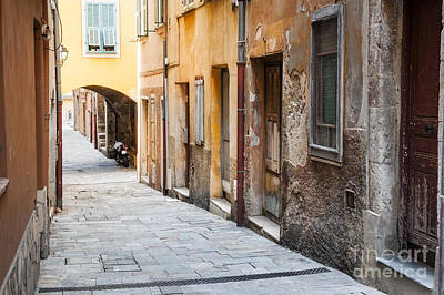Old Houses On Narrow Street In Villefranche-sur-mer Art Print by Elena Elisseeva