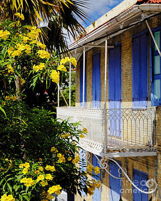 Old House With A Balcony In Charlotte Amalie Print by George Oze