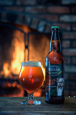 Beer Royalty-Free and Rights-Managed Images - Old Howling Bastard Barleywine By The Fire by Rick Berk