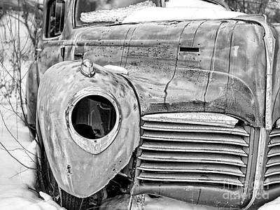 Photograph - Old Hudson In The Snow Black And White 4x3 by Edward Fielding