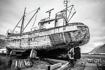 Photograph - Old Icelandic Fishing Ship In Dry Dock by Edward Fielding