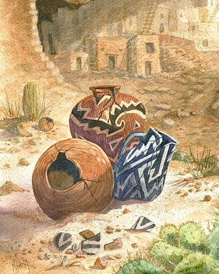 Artifact Painting - Old Indian Pottery by Marilyn Smith