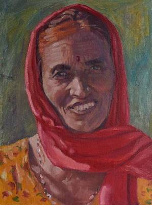 Indian Wedding Painting - Old Indian Woman by Sinclair Goudie