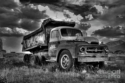 Photograph - Old International - Bw by Tony Baca