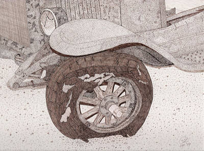 Sepia Ink Drawing - Old International Truck by Pat Price