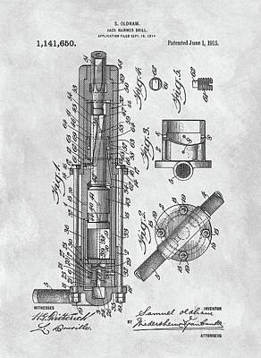 Drawing - Old Jackhammer Patent by Dan Sproul