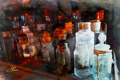 Signed By Artist Painting - Old Jars by Joan Reese
