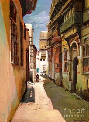 Painting - Old Jeddah Street by Yvonne Ayoub