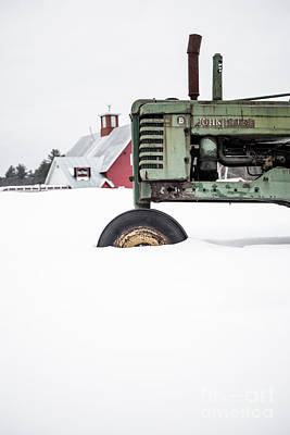 Photograph - Old John Deere Tractor In The Snow Vermont by Edward Fielding