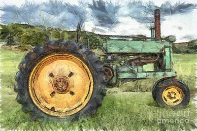 John Digital Art - Old John Deere Tractor Pencil by Edward Fielding