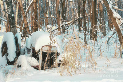 Old Junk Tractor In The Drifting Snow Art Print