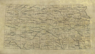 Drawing - Old Kansas Map - 1893 by Blue Monocle