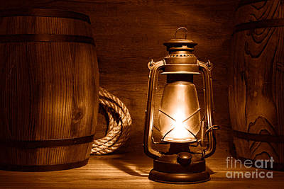 Photograph - Old Kerosene Lantern - Sepia by Olivier Le Queinec