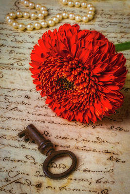 Old Key And Gerbera Daisy Art Print