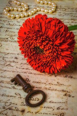 Gerbera Daisy Photograph - Old Key And Gerbera Daisy by Garry Gay