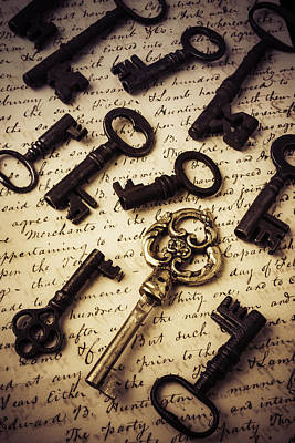 Photograph - Old Keys And Document by Garry Gay