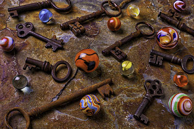 Old Keys And Marbles Print by Garry Gay