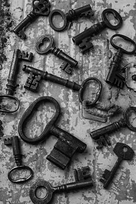 Photograph - Old Keys Black And White by Garry Gay