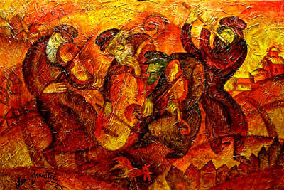 Jewish Painting - Old Klezmer Band by Leon Zernitsky