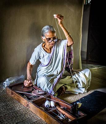 Ashram Wall Art - Photograph - Old Lady Spinning Wheel by Sankalp Humne