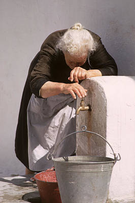 Old Lady With Water Pail Art Print by Carl Purcell