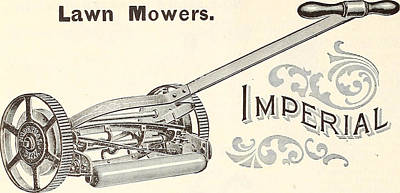 Garden Tools Drawing - Old Lawn Mower Poster by FL collection