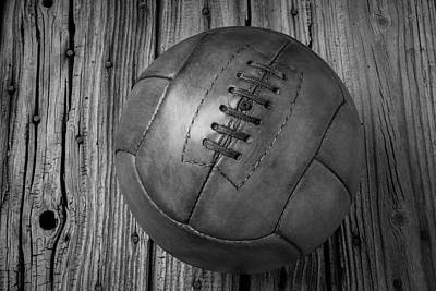 Photograph - Old Leather Football Black And White by Garry Gay