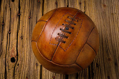 Photograph - Old Leather Football by Garry Gay