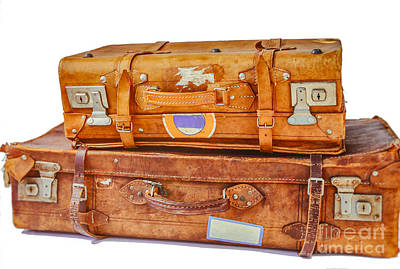On Paper Photograph - Old Leather Suitcases by Patricia Hofmeester