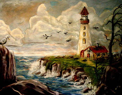 Perhaps Painting - Old Light House On The Coast by Bobbie Roberts