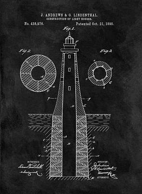 Drawing - Old Lighthouse Patent Illustration by Dan Sproul