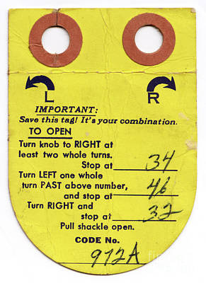 Photograph - Old Locker Tag From The 1960s by Vizual Studio