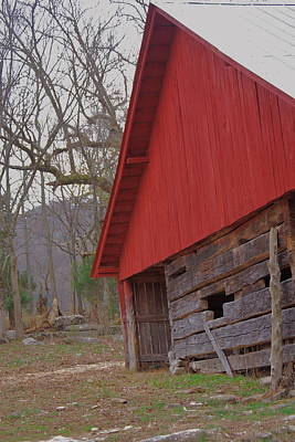 Art Print featuring the photograph Old Log Barn by Debbie Karnes