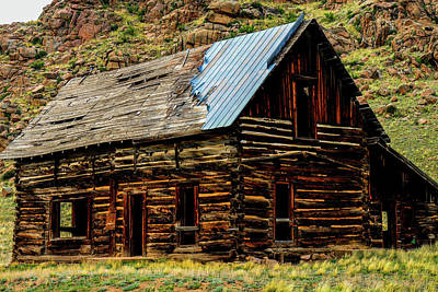 Photograph - Old Log Cabin-barn by Marilyn Burton