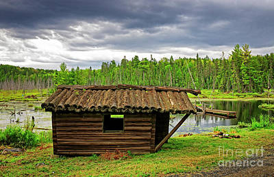 Photograph - Old Log Cabin In Temagami by Charline Xia