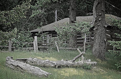 Old Log Cabin Art Print by Richard Farrington