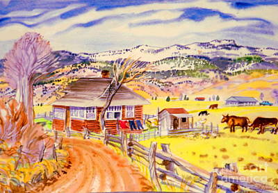Digital Art - Old Log House Gyspum Creek by Annie Gibbons