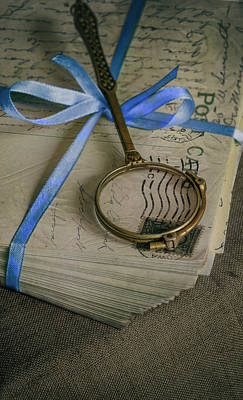 Photograph - Old Loupe And Pile Of Vintage Letters by Jaroslaw Blaminsky