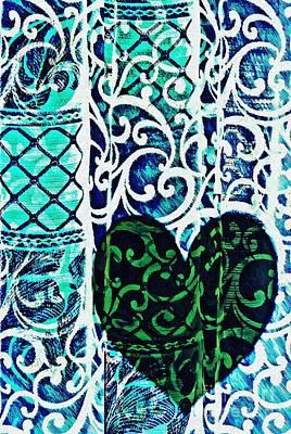 Abstract Hearts Digital Art - Old Love Stories Green by Sarah Loft