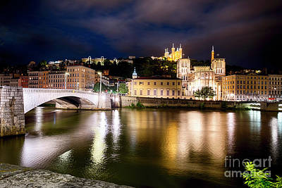 Saone River Photograph - Old Lyon Night Scenic With The Bonaparte Bridge by George Oze