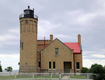 Photograph - Old Mackinac Point Light Gray Day 2 by Mary Bedy