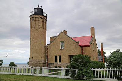 Photograph - Old Mackinac Point Light Gray Day 3 by Mary Bedy
