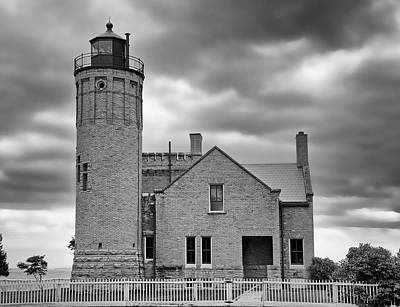 Photograph - Old Mackinac Point Light Gray Day Bw by Mary Bedy