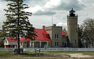 Bench Photograph - Old Mackinac Point Lighthouse by LeeAnn McLaneGoetz McLaneGoetzStudioLLCcom